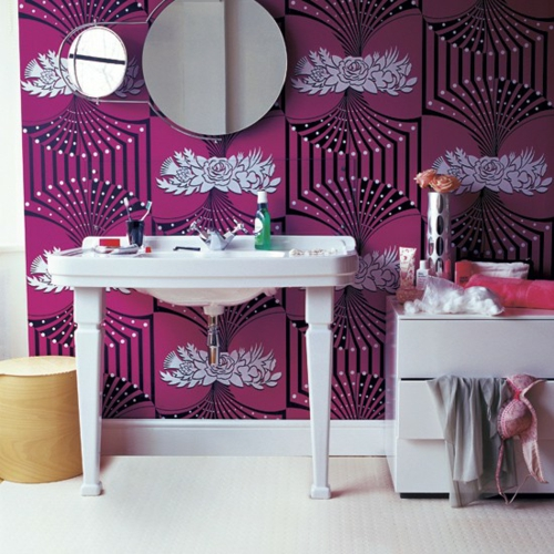 bathroom interior pink pattern extravaganza