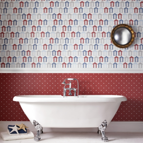 bathtub red house pattern small mirror silver accent