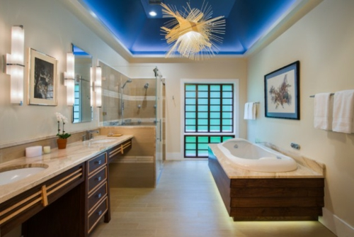 bathroom lighting fixture asian style blue ceiling