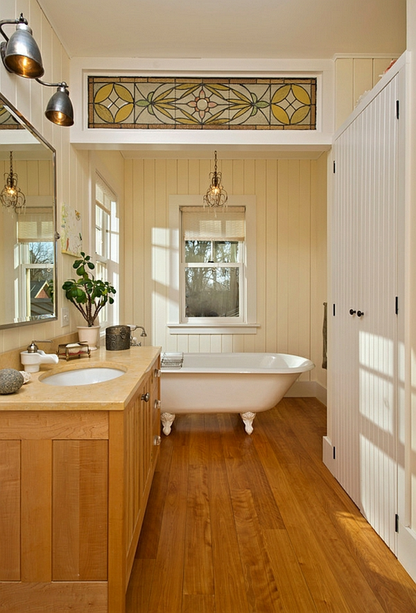 bathroom wood floor wood cabinet country house