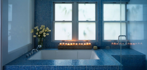 bathroom romantic lighting in the bath tub lit candles