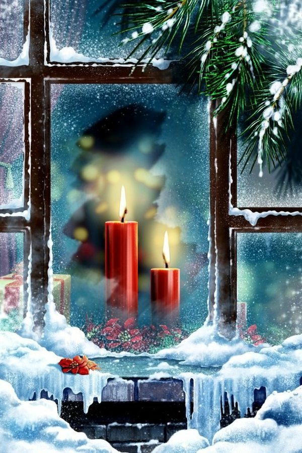 craft ideas for windows Christmas decorations candles red