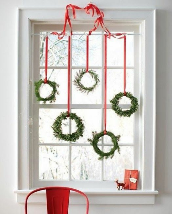 craft ideas for window Christmas decoration wreath green