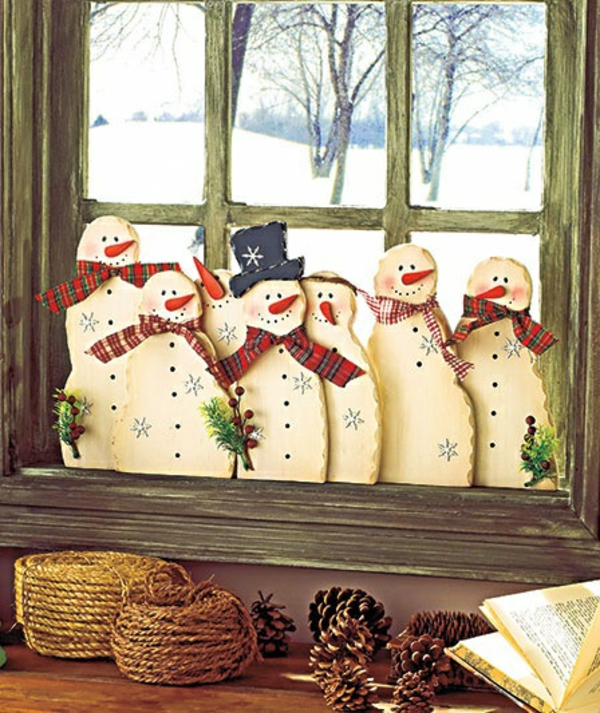 craft ideas for window Christmas decoration snowman