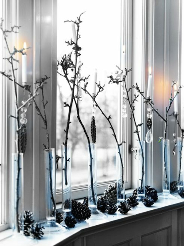 Window craft ideas for Christmas decorating branches