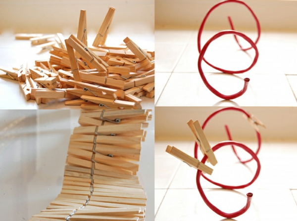 tinker with clothespins wooden spiral