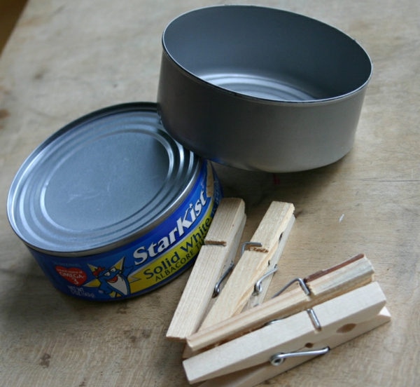 tinker with clothespins wood old tin cans