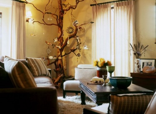 tree branches decoration living room couch sofa