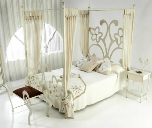 beige nuances bedroom bedside curtains floral pattern