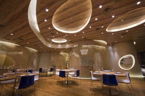 lighting ceiling indirect restaurant dining tables glamorous chairs