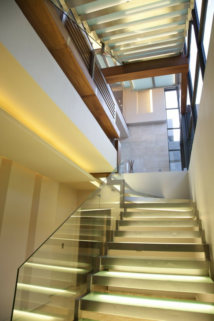 lighting staircase glass railing beautiful living ideas