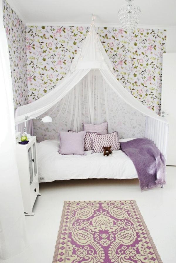 bed canopy nursery design purple accents wallpaper