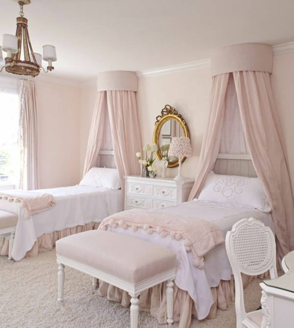 canopy girls room light pink bedroom benches