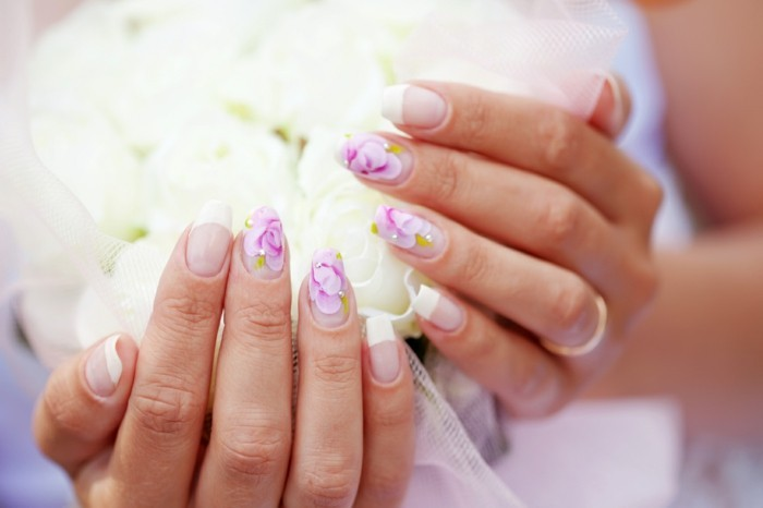 wedding manicure floral motifs-french-nails-for-wedding