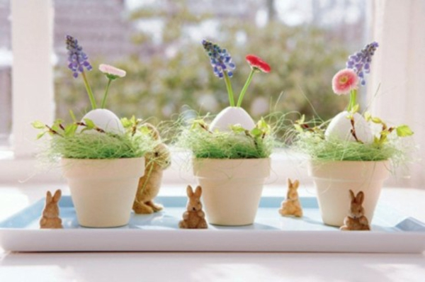 flowerpots white deco idea easter easter make proposal yourself