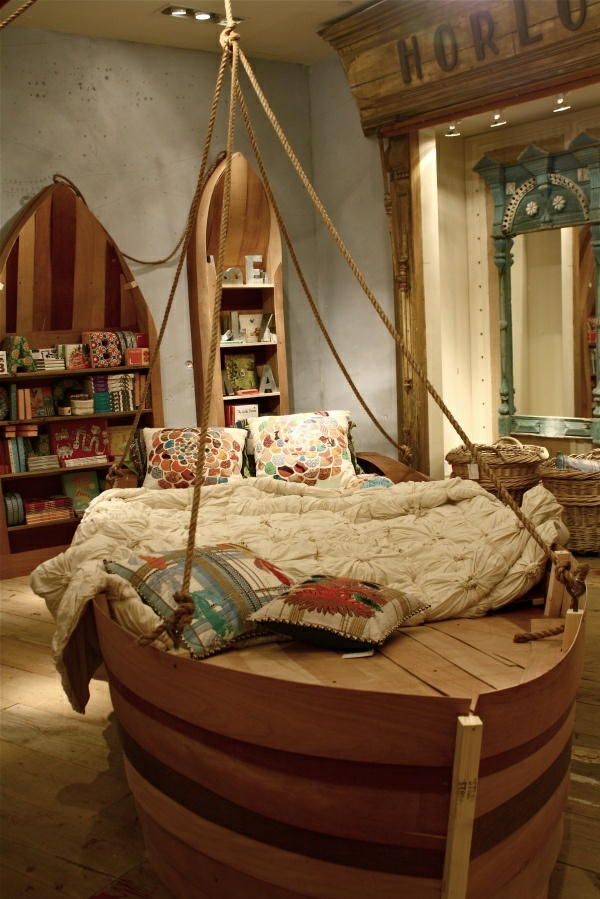 boat bed boy's room bookcase