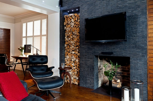 firewood store fireplace eames chair