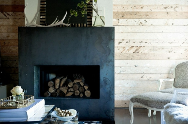 firewood store wall cladding natural wood fireplace