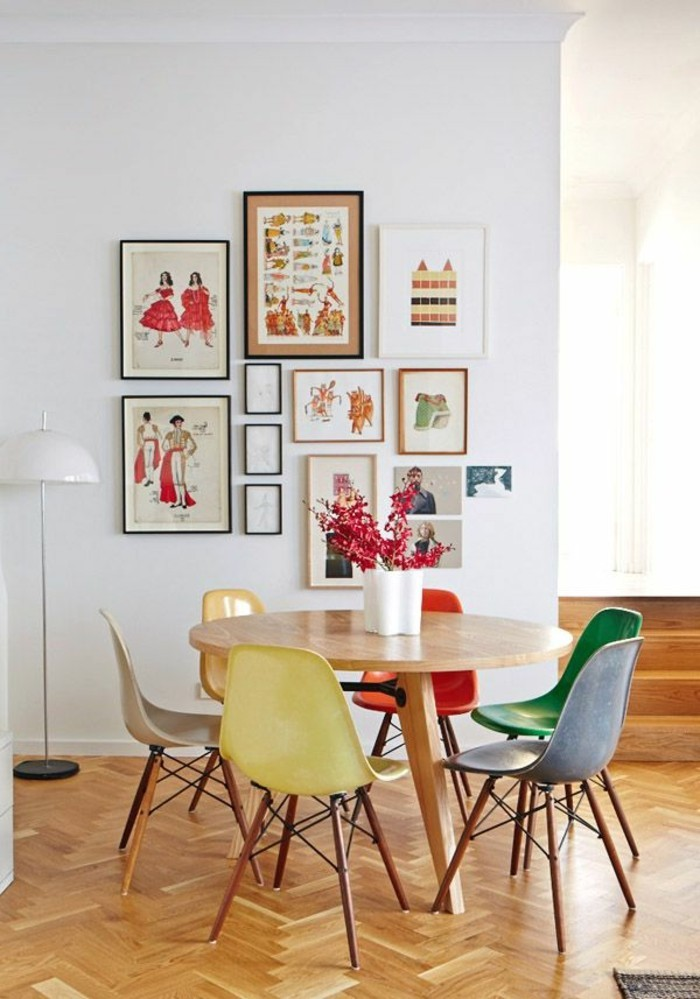 colorful kitchen set up colored chairs round dining table