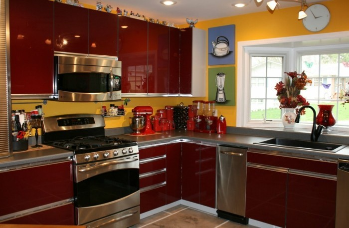colorful kitchen yellow walls dark red kitchen cabinets beautiful murals