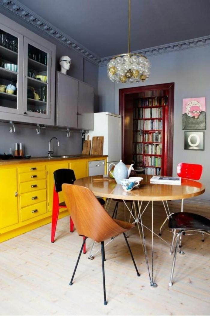 colorful kitchen ideas yellow kitchen cabinets dining table chairs