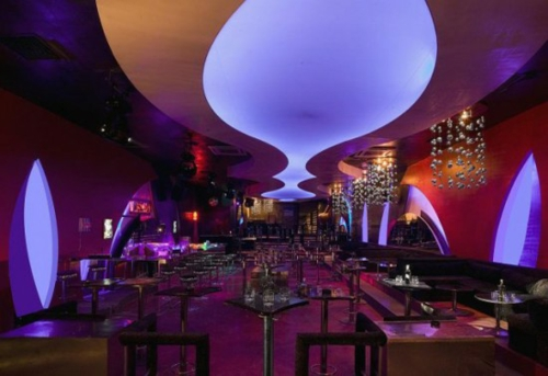 Colorful lights lighting ceiling restaurant urban style