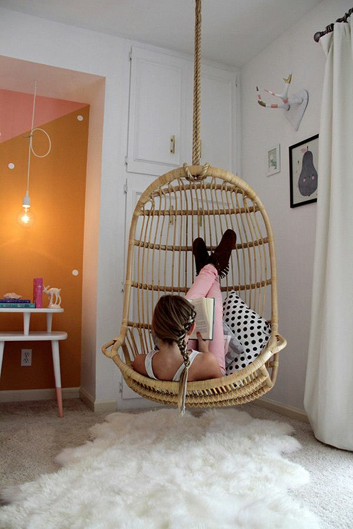 Cool Youth Room girl ideas suspenso cesta cadeira
