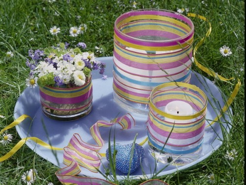 cool candles ideas summer deco glass stripes colorful