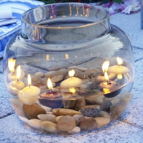 cool candles ideas summer deco glass of water