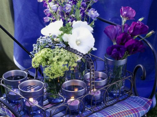 cool candles ideas summer purple fresh aromatic flowers