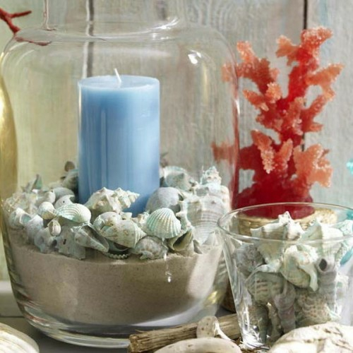 cool candles ideas summer sea figure glass sand