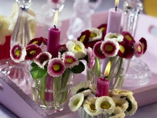 cool candles ideas summer pink flowers glass