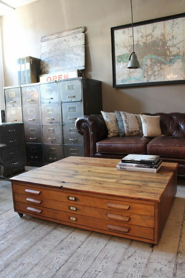 Coffee table drawers living room design