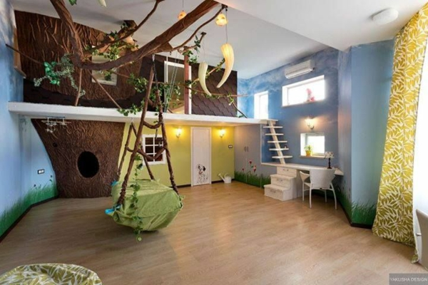 decoration ideas for children's rooms forest motifs