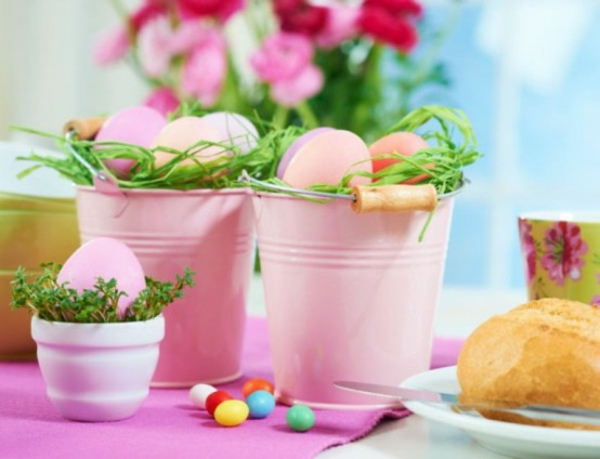 decorative metal bucket full of easter eggs pink color