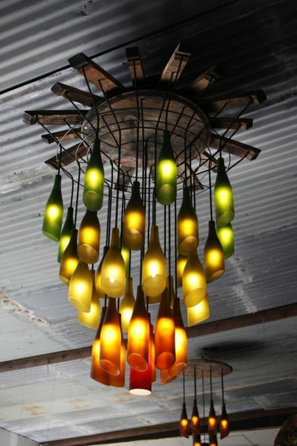 designer light up diy wine bottle chandelier