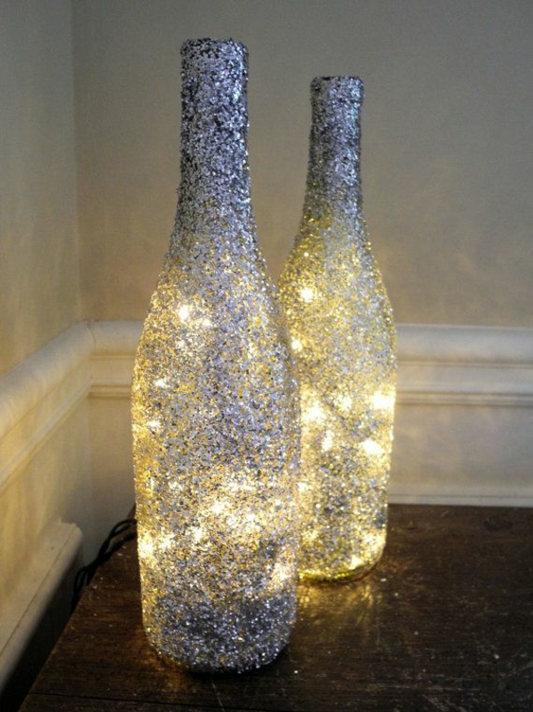 designer light up diy lamp from wine bottle