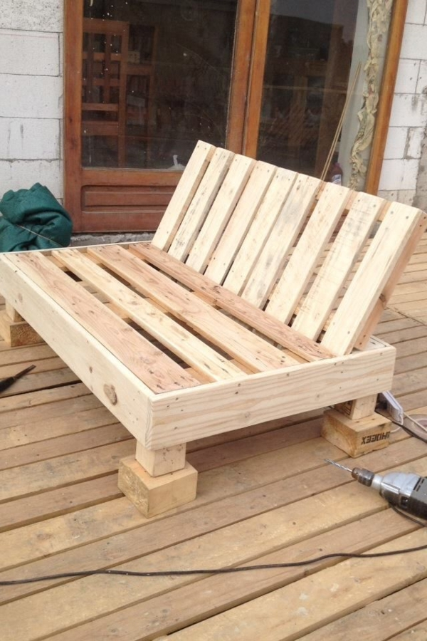 diy garden furniture made of pallets wood sofa