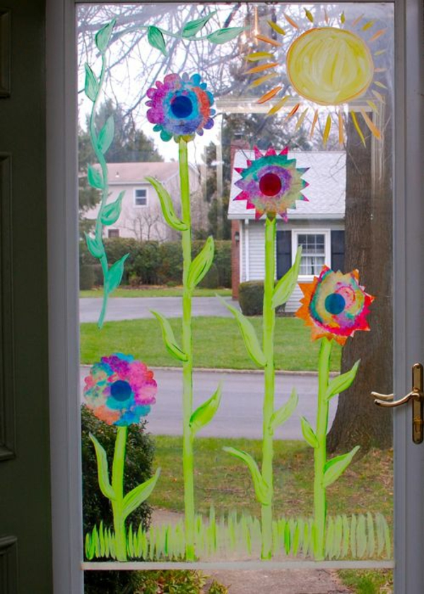 deco ideas spring decoration tinker with children flowers on window painting