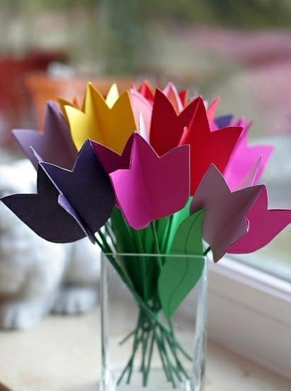 deco ideas spring decoration tinker with children colored tulips