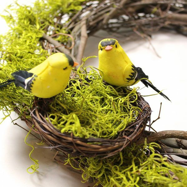 deco ideas spring decoration tinker with children yarn branches birds