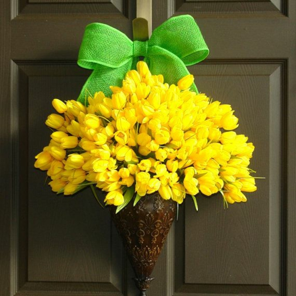 deco ideas spring decoration tinker with children's yellow tuplen green bow