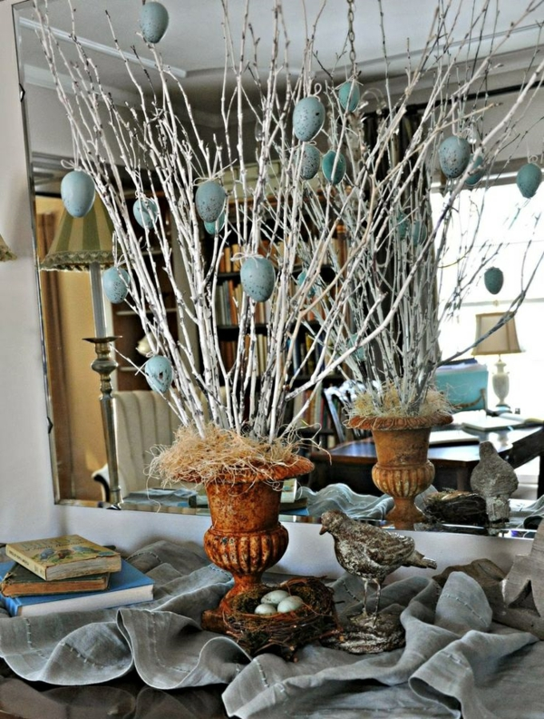 deco ideas spring decoration tinker with children dry branches and eggs