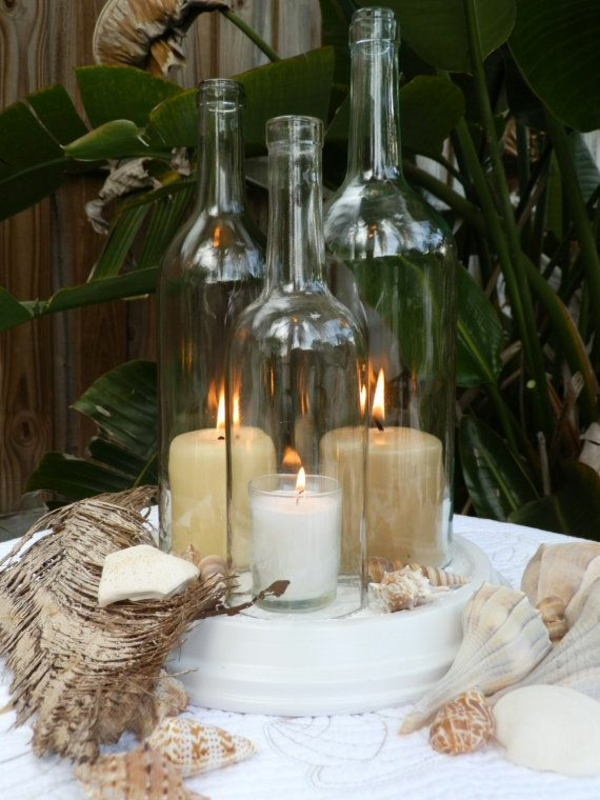 diy lit wine bottle decoration with candles