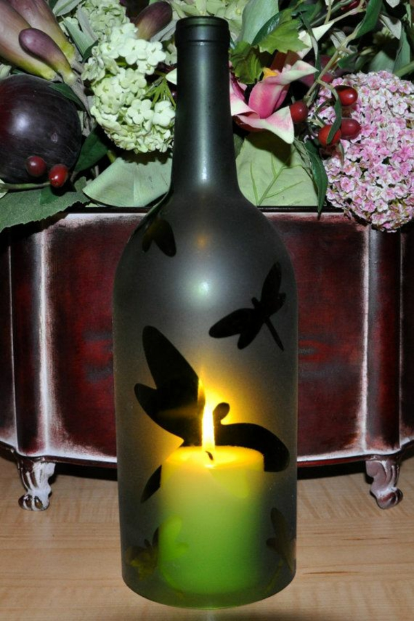 Diy lamp from wine bottle candle