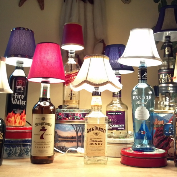 DIY lamp from bottle of liquor bottles