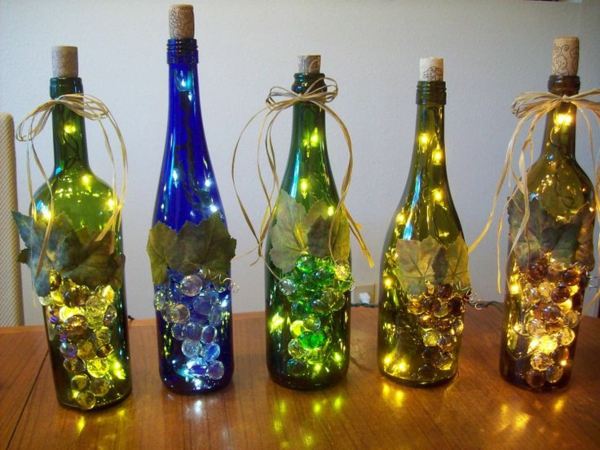 Diy lamp colorful wine bottles