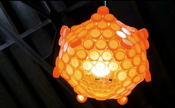diy lamp bottle cap chandelier yellow