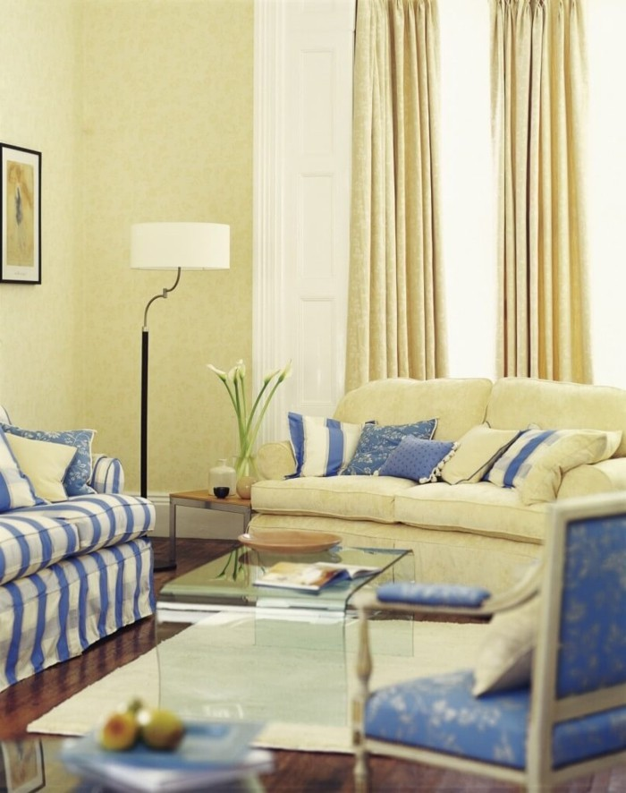 furnishing country style french light yellow walls blue stripes