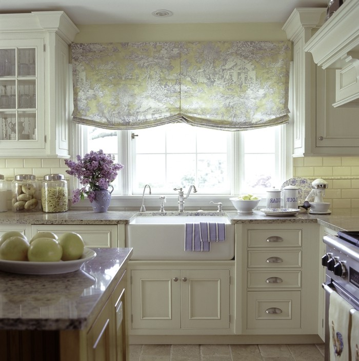 furnishing country style french style kitchen roman blind flowers